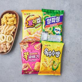 농심 최애과자 203G (양파링+옥수수깡+오징어집+꿀꽈배기)
