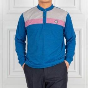 [헤스티지] [하프클럽/중년의품격]쿨링 배색라인 스판 헨리넥 티셔츠 505