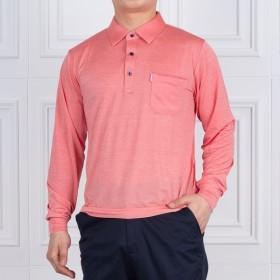 [헤스티지] [하프클럽/중년의품격]쿨링 파스텔 잔스트라이프 스판 카라 티셔츠 520