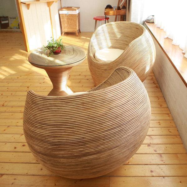 몰디브 동글이 내추럴 라탄소파세트(의자2개+T테이블) 상품이미지