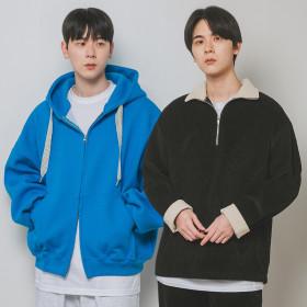 ALVINCLO Unisex fleece plain sweatshirt hoodie turtleneck pullover zip-up