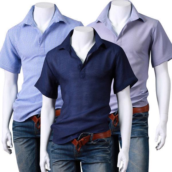 남자셔츠/기본남방/스트라이프체크남방/청남방/헨리넥 상품이미지