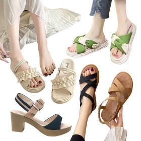 [Hillshoebill] Women`s sandals collection / flat / buckled ankle strap / tasseled / unisex sandals /
