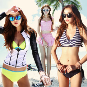 Swimsuit set / top + bottom / 2 tone / striped / halter neck / rash guard /