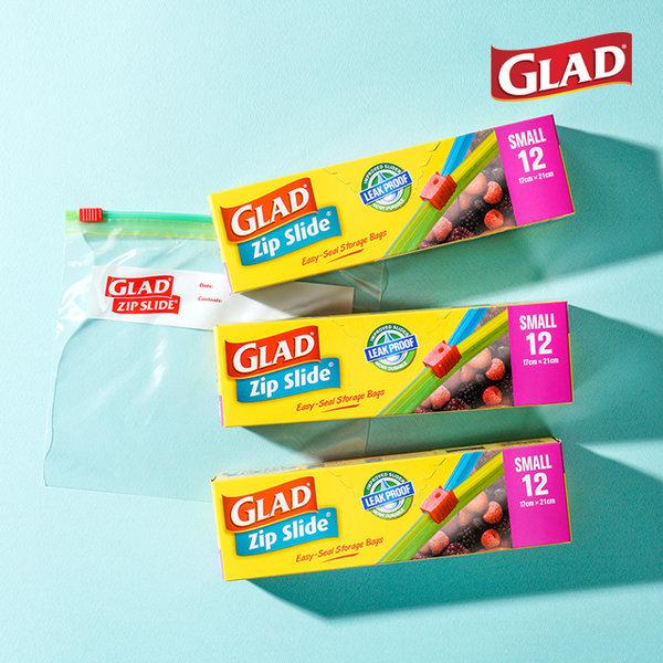 GLAD 집슬라이드 소형 3개(총36매) 지퍼백 강력밀봉 상품이미지