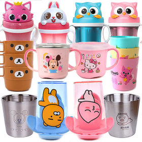 Character designed kids` tableware collection / spoon and fork / chopsticks / bowl / water bottle /