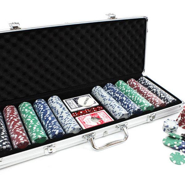 카지노세트 500p 투톤 포커 칩 룰렛 트럼프 카드 게임 상품이미지
