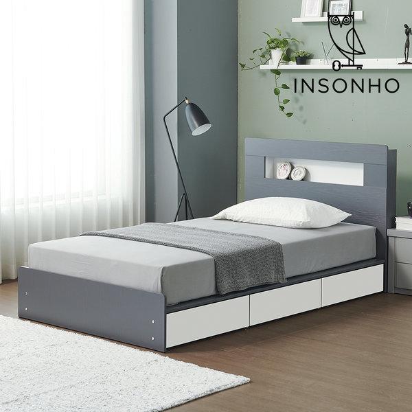프레고 SS + 3단수납 LED 평상형 슈퍼싱글 침대프레임 상품이미지