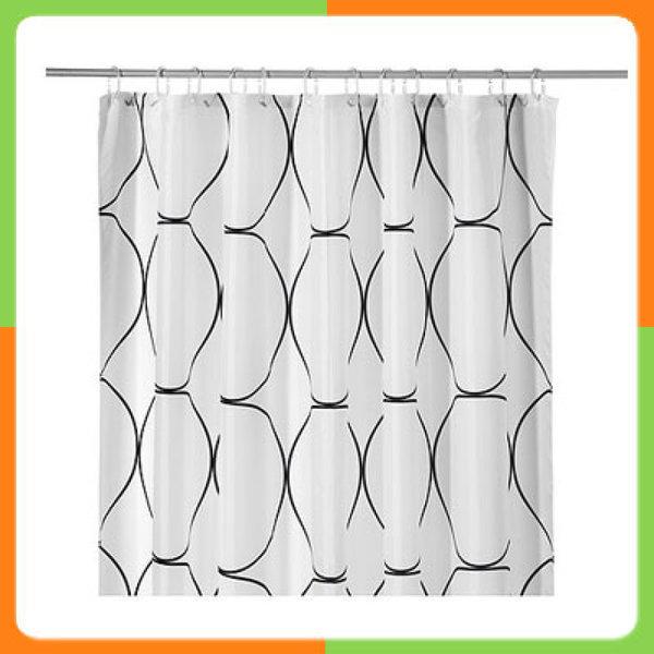 UDDGRUND 샤워커텐(화이트/블랙) Shower curtain  white/black/욕실/목욕/생활/잡화/이케아 802.031.12/ 상품이미지