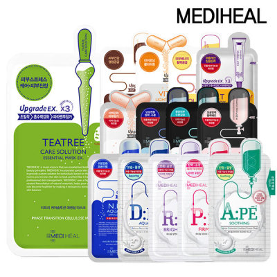 MEDIHEAL mask pack 20 sheets/can choose by 10 sheets/aqua/tea tree care