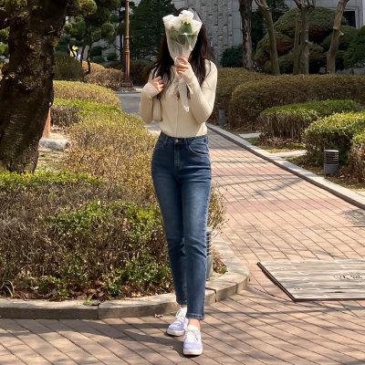 F/W NEW Straight Skinny Jeans Slacks Women`s Banded Plus Size Pants