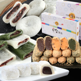 Korean Sticky Rice Cake/Collection/Korean Mugwort Rice Cake/STEAMED RICE CAKE COATED WITH HONEYED RE