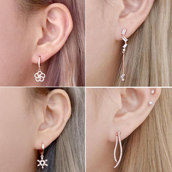 14k 핑크골드핀 드롭 큐빅 원터치 링 패션 귀걸이 상품이미지
