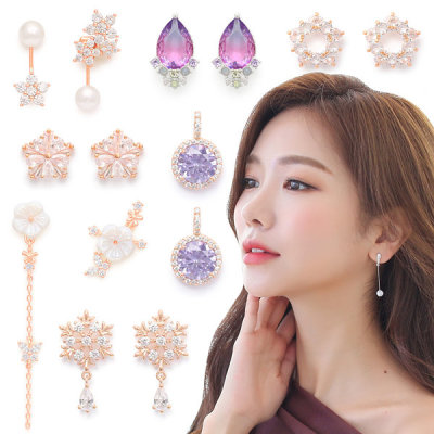 New arrivals silver post ring cubic zirconia earrings long free shipping in Korea