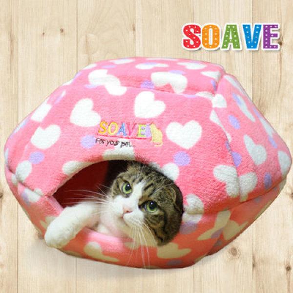 쏘아베 2-WAYs 햄버거 보온하우스 핑크  /고양이보온하우스/고양이월동준비/고양이겨울하우스/고양이용품 상품이미지