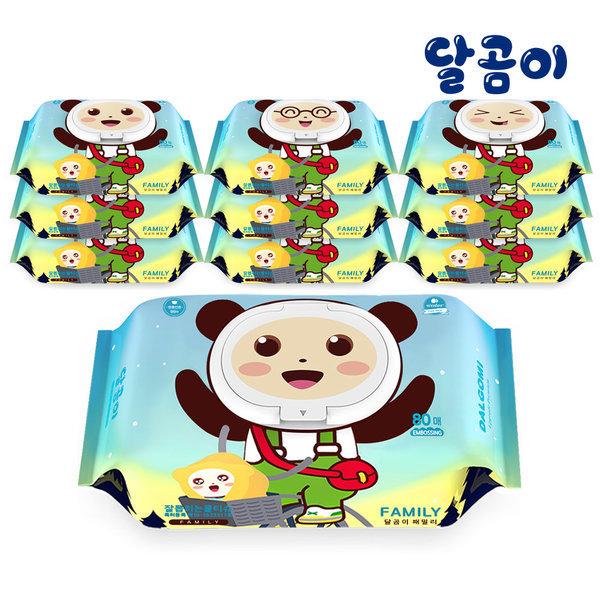 달곰이 아기물티슈 패밀리 엠보싱 캡형 80매 10팩 상품이미지