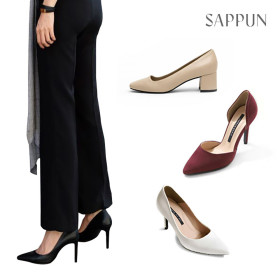 SAPPUN Women`s heel collection / stiletto / mid heels / pumps / solid color / round toe /