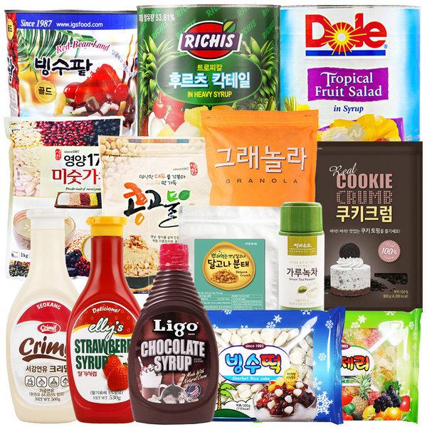 팥빙수재료모음/빙수팥/빙수떡/콩고물/연유/시럽 상품이미지