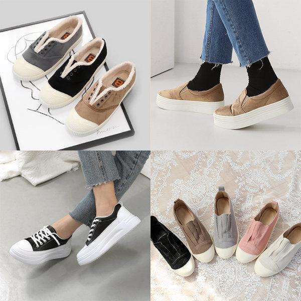 여성 신발 슬립온 키높이 스니커즈 통굽 운동화 단화 상품이미지
