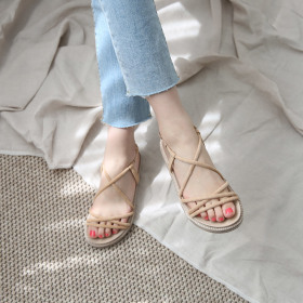 [DANGOLUNNI] Women`s slides and sandals collection / wedge heel / closed toe / ankle strap /