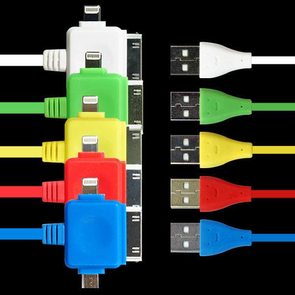 애니카몰ㅁ3기능 컬러USB케이블/충전데이터/아이폰5S호환/4S호환/갤럭시S4/갤럭시노트2/USB충전기/라이트닝 상품이미지