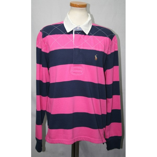 폴로스포츠 핑크색의 넓은 줄무늬 카라긴팔티/사이즈66 상품이미지