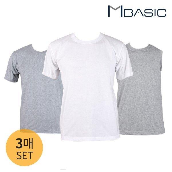 맨즈베이직  3매세트/베이직 반팔 라운드 티셔츠/나시 언더셔츠 (0148931737) 상품이미지