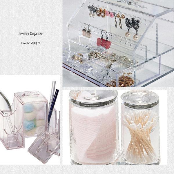 투명 큐빅사각 화장솜통 면봉통/향수 립스틱 명함꽂이 상품이미지