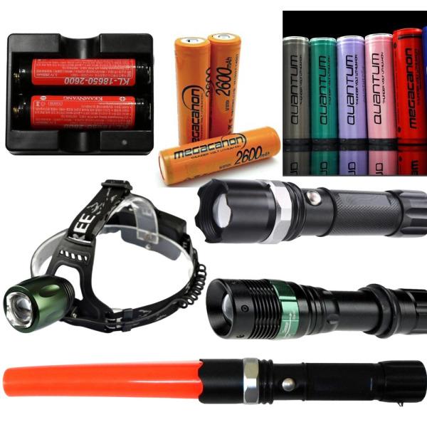 LED 충전식 헤드랜턴 경광 손전등 18650배터리 충전기 상품이미지