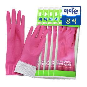 마미손 고무장갑 패스(중형) 5개묶음 라텍스/김장