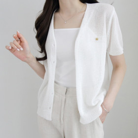 [JENIT] Knit cardigan collection / open front button up / loose fit / ribbed / striped /