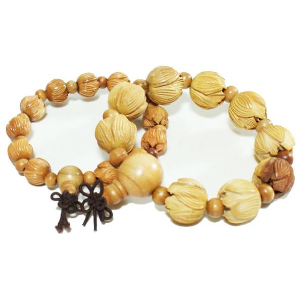 복숭아 나무 연꽃조각 팔찌 합장주 염주 상품이미지