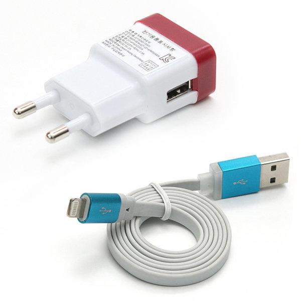 가정용충전기 충전어댑터 2000mA + 애플8핀 케이블 플랫  - 아이폰6/6플러스 아이폰5 아이패드4/미니/에어/ 상품이미지