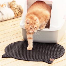 묘심猫心 고양이화장실매트 모래매트 발판 머리모양