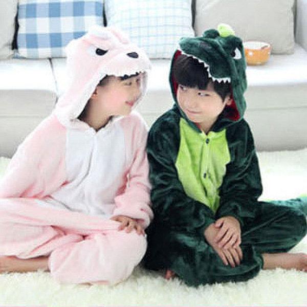 G녹색공룡 핑크 어린이 캐릭터동물잠옷 아동수면잠옷 상품이미지