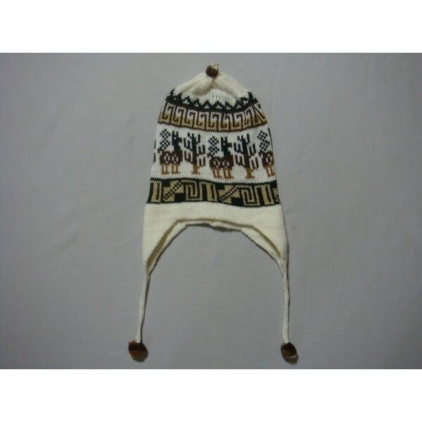 F사이즈 아이보리카멜브라운 사슴문양 귀마개니트모자 상품이미지