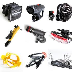 Bike supplies / repairing tool / bike lock / taillights / bike pump / water bottle holder /