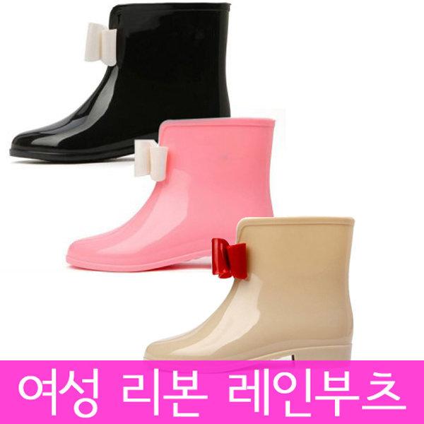 여성레인부츠 화이트리본장화 여성부츠 신발 여성화 상품이미지