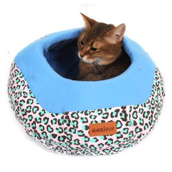 코지스캔버스레오파드항아리방석블루/고양이호박방석 상품이미지