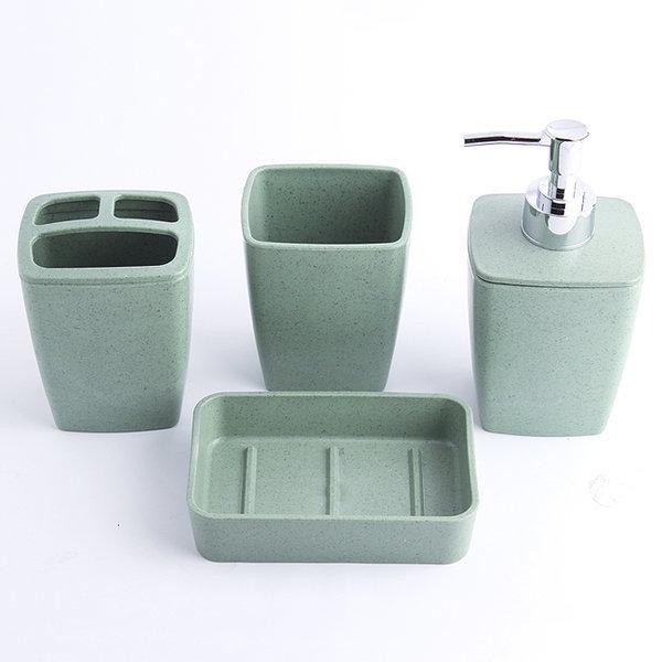 4p 스퀘어 욕실용품세트(비누받침/펌프용기/칫솔꽂이/ 상품이미지