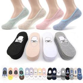 Fake socks / 10 pairs set / silicon heel grip / non-slip / for men / women /