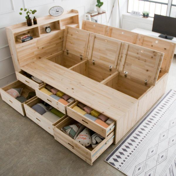 리에또 높은수납+서랍침대/큰수납침대/원목침대/수납 상품이미지