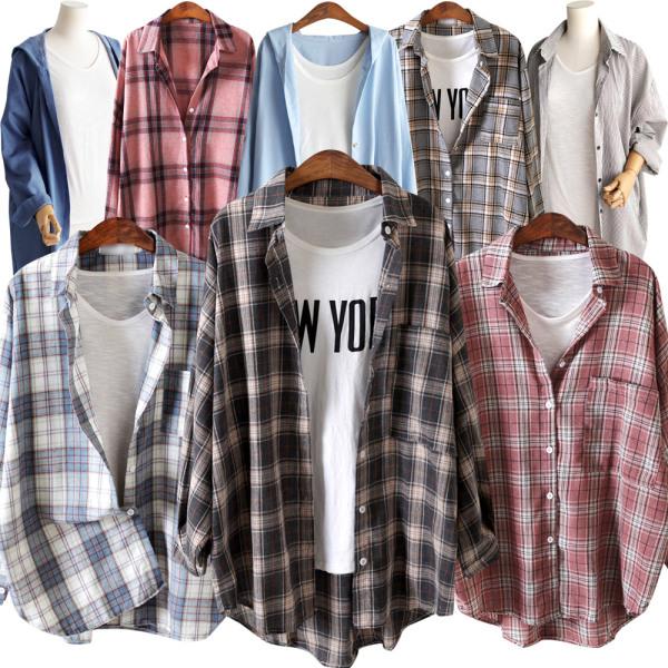 여름신상 시원한 셔츠 루즈핏 체크 스트라이프 롱셔츠 상품이미지