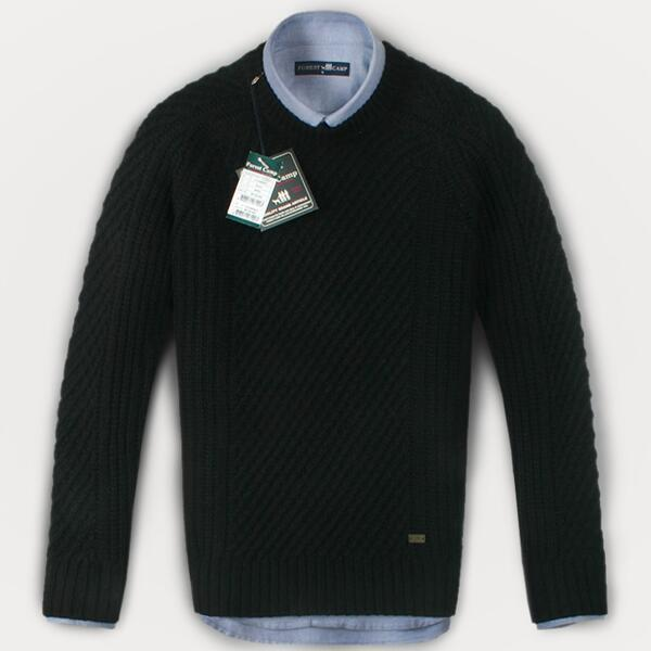 (현대Hmall) FOREST CAMP Lambswool Sweater/조직 변형 스웨터 FCSW5411-Black 상품이미지