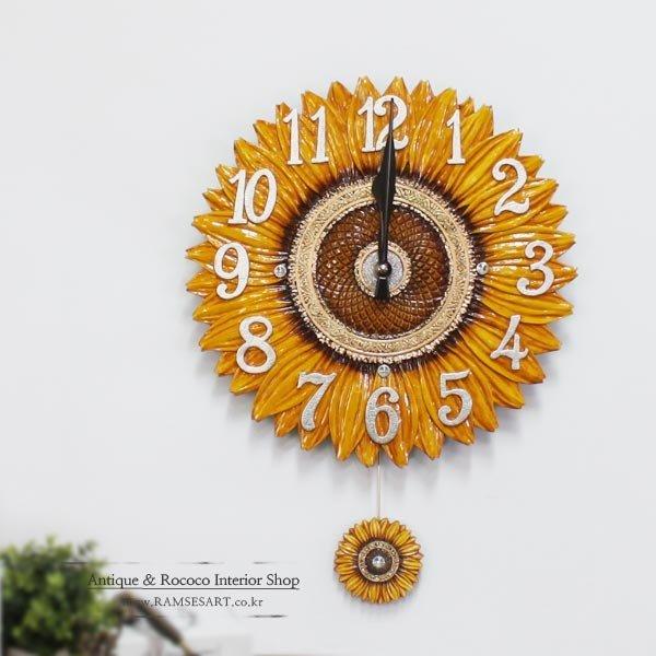 해바라기(대) 부엉이시계/무소음 벽시계 집들이 선물 상품이미지