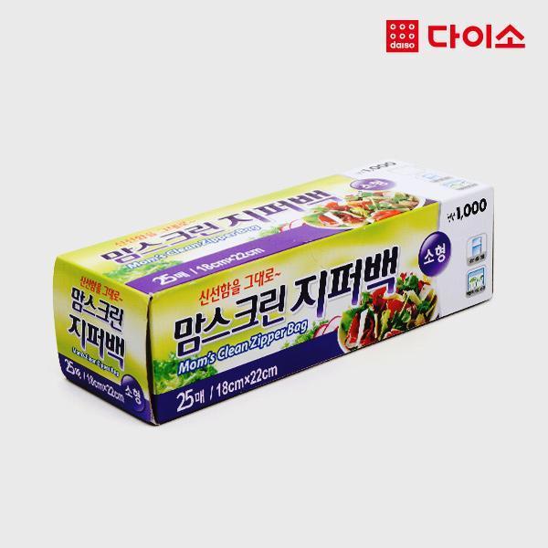 다이소 맘스크린 일회용 지퍼백(소)25매-56335 상품이미지