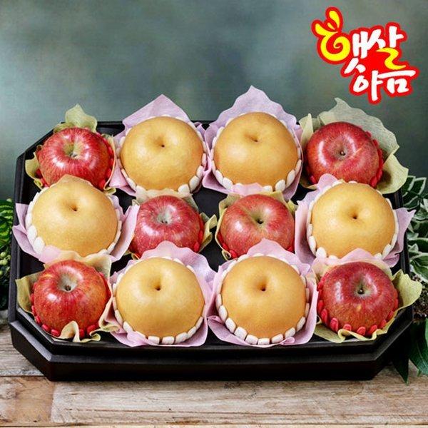 햇살아름 당도선별  팔각 사과 배 혼합선물세트6.2kg이상(사과6개 배6개/특품)보자기포장 상품이미지