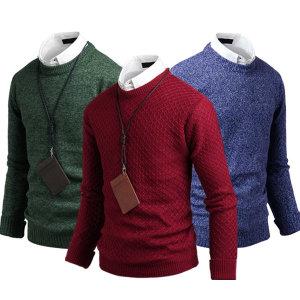 가을 남자 라운드 니트 남성 스웨터 반집업 꽈배기