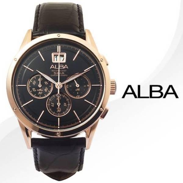 正品  알바  AU5018X ALBA 크로노그래프 / 블랙다이얼+블랙 가죽시계 AU5018X1 상품이미지
