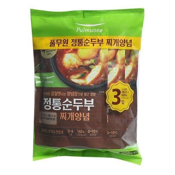 풀무원 찬마루 정통순두부찌개양념3입 420g 상품이미지